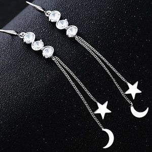 Tassel Star Moon Cubic Zirconia Earring